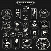 Collection of vintage hipster labels, badges and stamps, monochrome, vector illustration