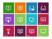 TV icons on color background. Vector illustration.