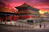 Temples of the Forbidden City in Beijing China during sunset