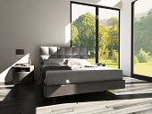 image of master bedroom  - 3d rendering of modern bedroom with floor to ceiling windows and landscape view - JPG