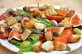 Healthy Pumpkin Salad with figs, mushrooms, croutons and grapes