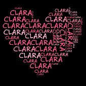 Clara word cloud in pink letters against black background