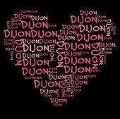Dijon word cloud in pink letters against black background