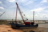 A Barge sitting on the sandbank
