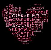 Grenoble word cloud in pink letters against black background