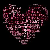 Leipzig word cloud in pink letters against black background