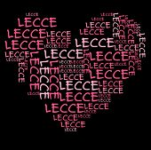 Lecce word cloud in pink letters against black background