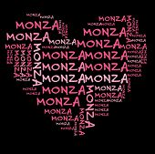 Monza word cloud in pink letters against black background
