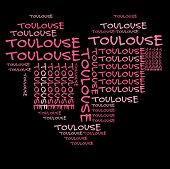 Toulouse word cloud in pink letters against black background