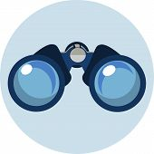 stock photo of spyglass  - Binoculars Flat Icon  - JPG