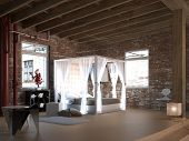 foto of canopy  - White canopy bed in a loft with brick wall - JPG