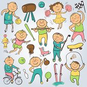 Vector cartoon sport players, doodle character