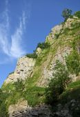 Cliff / rock detail of the Cheddar Gorge, Mendip Hills in Somerset famous for its limestone caves an
