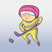 Vector cartoon hockey player