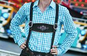 image of lederhosen  - Young man posing in traditional Bavarian Lederhosen - JPG