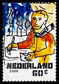 Postage Stamp Netherlands 2000 Man Writing Letter, Christmas