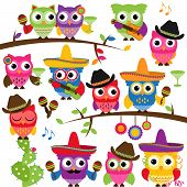 stock photo of pom poms  - Cinco de Mayo Themed Collection of Owls and Branches - JPG