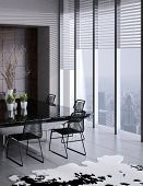 3D rendering of modern dining room interior