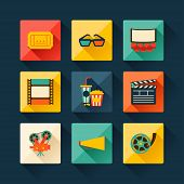 Set of movie design elements in flat style.