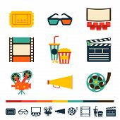 Set of movie design elements and cinema icons.