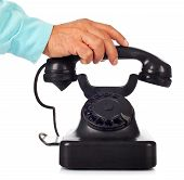 stock photo of bakelite  - Old retro bakelite telephone on white background - JPG