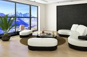 Modern Loft Living Room with white couches and mountain range view