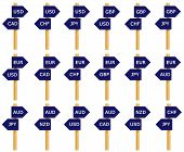 stock photo of nzd  - Imitation signpost of eighteen most traded currency pairs in the World - JPG