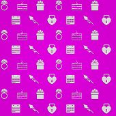 picture of wedding feast  - Vector pattern with gray silhouette icons for wedding on purple background - JPG