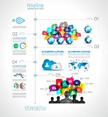Timeline Infographic design template with paper tags. Idea to display information, ranking and stati