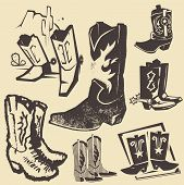 stock photo of cowboy  - Clip art collection of various cowboy boots - JPG