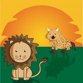 stock photo of hyenas  - a lion and a hyena in a sunset background - JPG