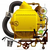 Vector isolated image of the complex fantastic machine with yellow round boiler, crimped pipe, chemi