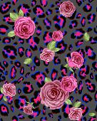Leopard skin and rose seamless pattern. Repeating  background.