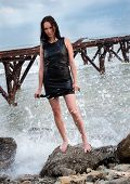 Young Mistress And Sea Background