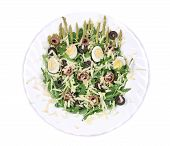 Salad with anchovies and asparagus.