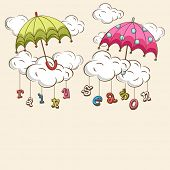 Creative kiddish concept with colorful umbrellas, clouds and hanging colorful text on brown backgrou