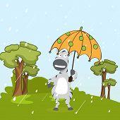Kiddish concept with donkey under the umbrella on nature background.