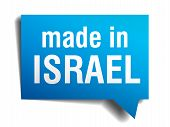 Made In Israel Blue 3D Realistic Speech Bubble Isolated On White Background