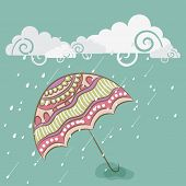 stock photo of rainy season  - Creative design for Happy Monsoon Season with colorful floral design decorated umbrella in the rain - JPG