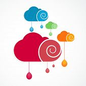 Creative concept for Monsoon Season with colorful clouds and rain drops over white background.