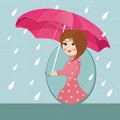 Cute girl under pink umbrella walking in the rain, beautiful flyer or template design for Monsoon Season.