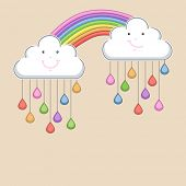 Monsoon season background with happy clouds, rainbow and colorful water drops. Kiddish concept.