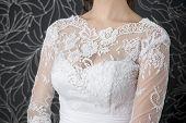 Lace White Wedding Dress Closeup