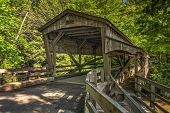 stock photo of covered bridge  - The covered bridge at Lanterman