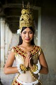 Indigenious Cambodian female dancer greeting.