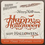 Set of happy halloween greetings typography