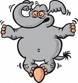 stock photo of unexplained  - Gray elephant in a very serious attitude while standing on an egg without breaking it and keeping absolute concentration and balance in a fully impressive and surprising performance - JPG