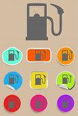 Gas station fuel pump black icon set