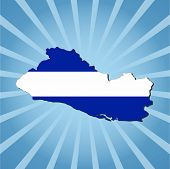 El Salvador map flag on blue sunburst illustration