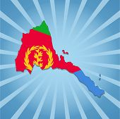 Eritrea map flag on blue sunburst illustration